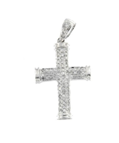 Cruz de oro blanco con brillantes
