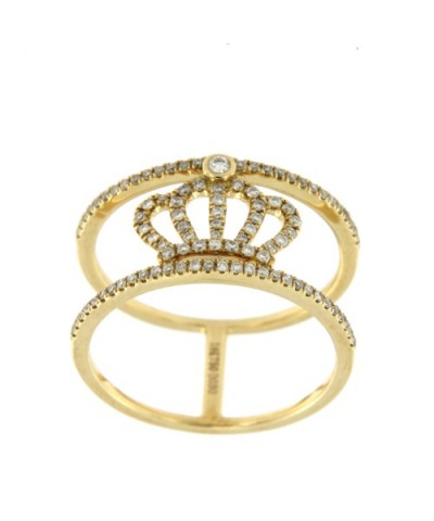 QUEEN, anillo de oro amarillo con diamantes