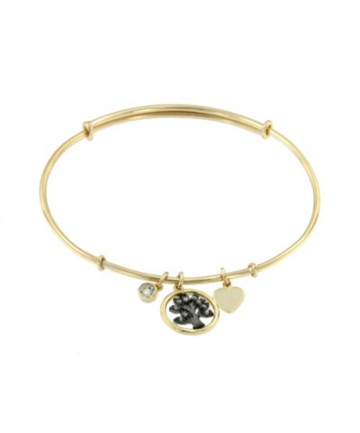 Pulsera de plata dorada con circonita blanca, árbol con circonitas y corazón
