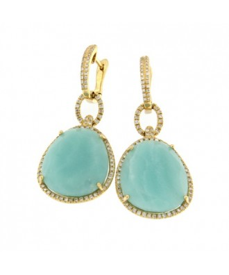 LOTTO, pendientes largos de oro con diamantes y amazonite