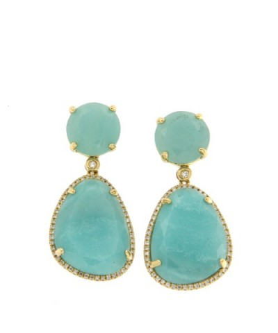 Pendientes de oro con diamantes y amazonite
