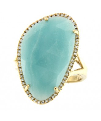 BOSA, Anillo de oro y brillantes con amazonite.