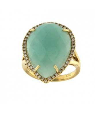 FROSINONE, Anillo de oro y diamantes con amazonite