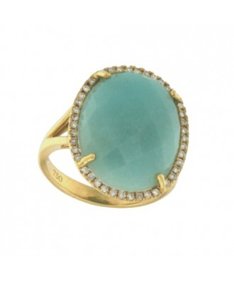 ORESEI, Anillo de oro con diamantes y amazonite