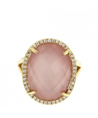 STINTINO, Anillo de oro con diamantes y cuarzo rosa.