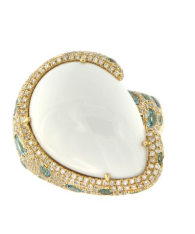 MERENGUE, anillo de oro con diamantes y topacio