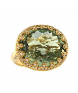 CUMBIA, anillo de oro amarillo con diamantes y amatista verde